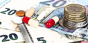 white and red tablets with euros banknotes and coins. Concept Pharmaceutical business, cost of health, medecine. Scattered pills. On white background